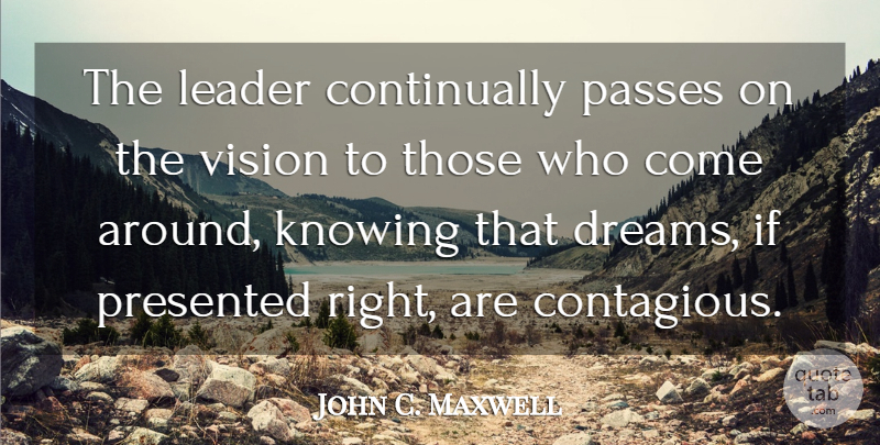 John C. Maxwell Quote About Leadership, Dream, Knowing: The Leader Continually Passes On...