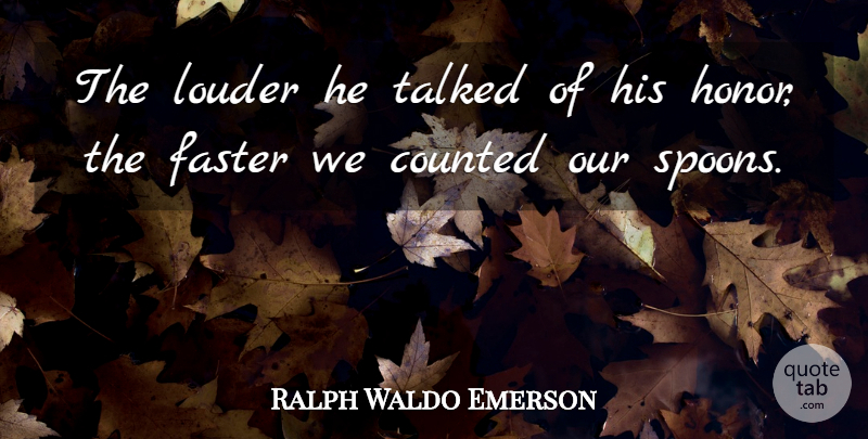 Ralph Waldo Emerson Quote About Truth, Lying, Character: The Louder He Talked Of...