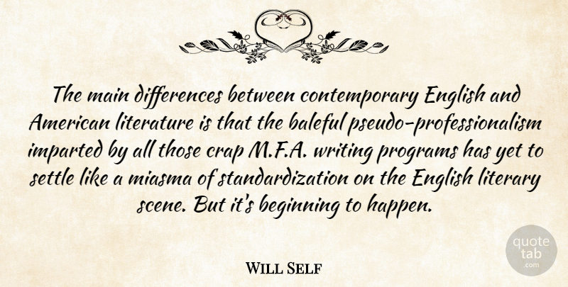 Will Self Quote About Crap, English, Literary, Main, Programs: The Main Differences Between Contemporary...
