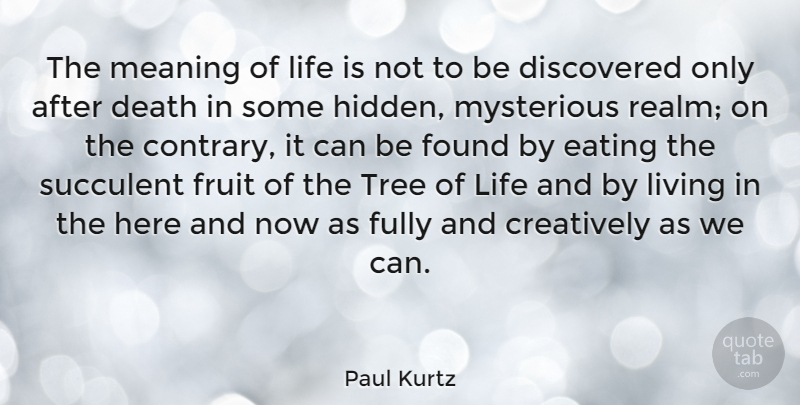 Paul Kurtz The Meaning Of Life Is Not To Be Discovered Only After