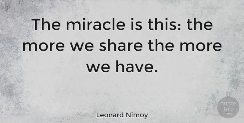 Leonard Nimoy Quote About Success, Anniversary, Wise: The Miracle Is This The...