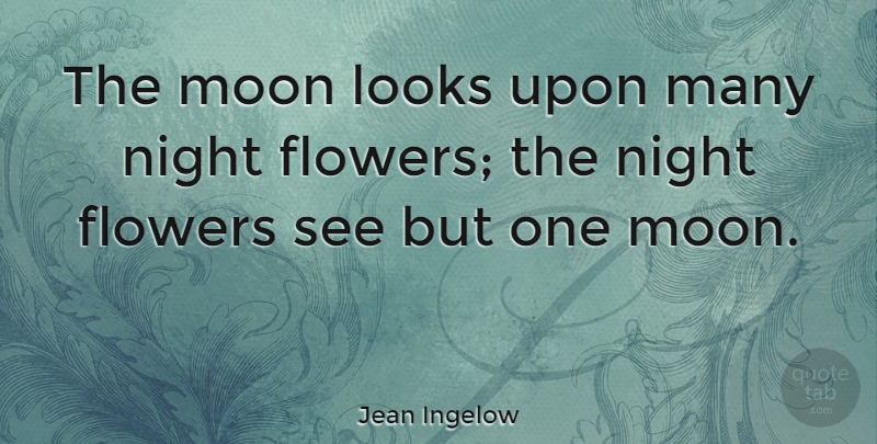 Jean Ingelow Quote About Flower, Moon, Night: The Moon Looks Upon Many...