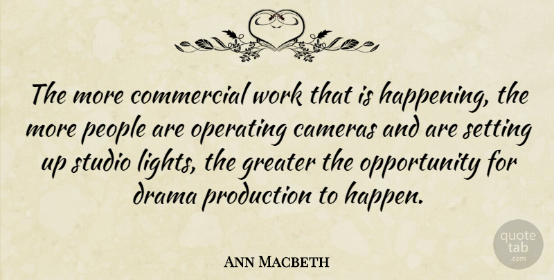 Ann Macbeth Quote About Drama, Opportunity, Light: The More Commercial Work That...