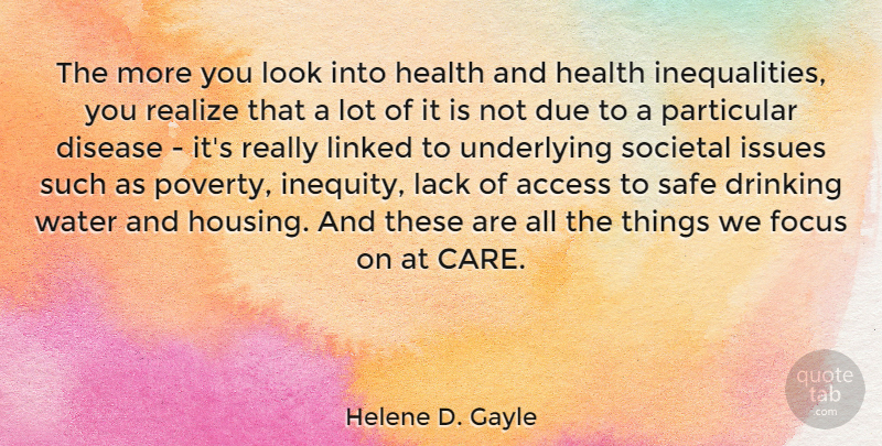 Helene D. Gayle Quote About Access, Disease, Drinking, Due, Focus: The More You Look Into...