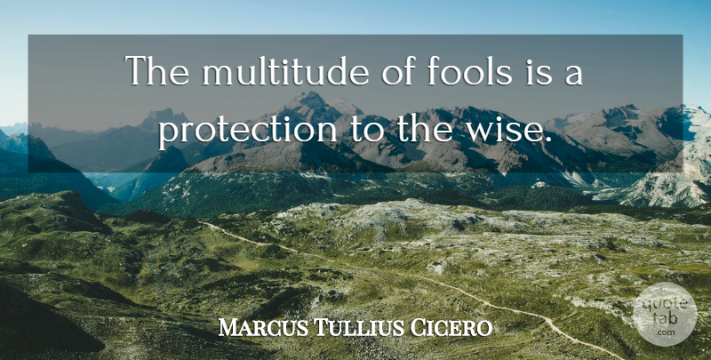 Marcus Tullius Cicero Quote About Wise, Fool, Protection: The Multitude Of Fools Is...