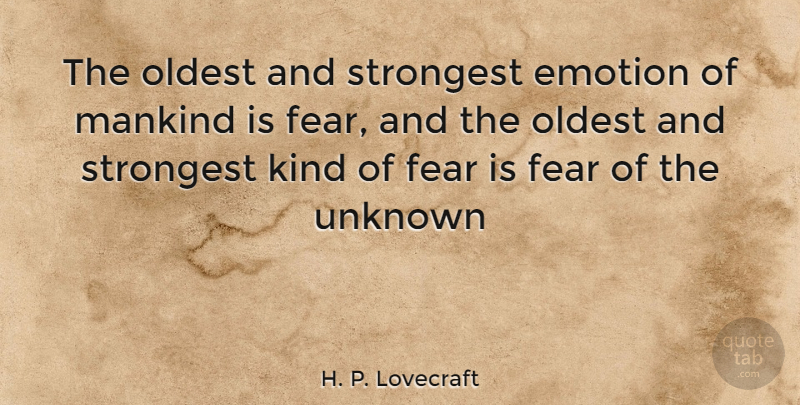H P Lovecraft The Oldest And Strongest Emotion Of Mankind Is Fear