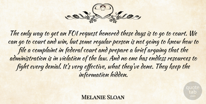 Melanie Sloan Quote About Arguing, Brief, Complaint, Court, Days: The Only Way To Get...