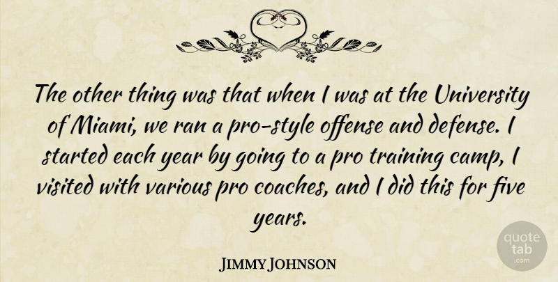 Jimmy Johnson Quote About Five, Offense, Pro, Ran, University: The Other Thing Was That...