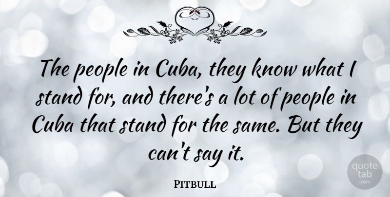 Pitbull The People In Cuba They Know What I Stand For And Theres