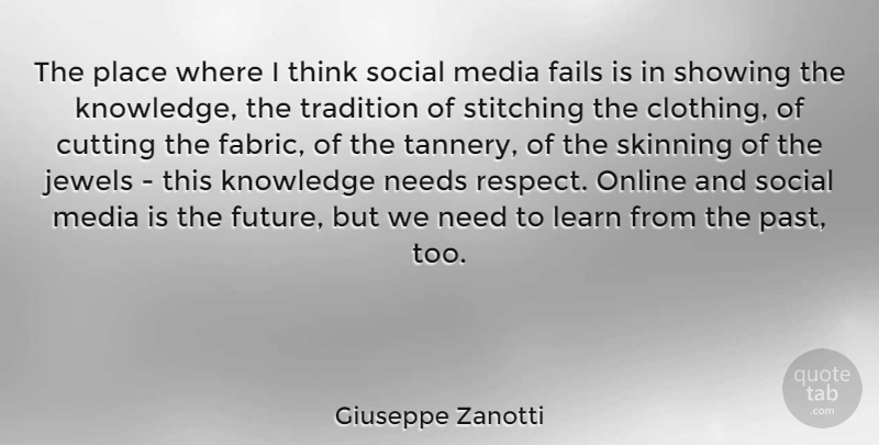 Giuseppe Zanotti Quote About Cutting, Past, Thinking: The Place Where I Think...