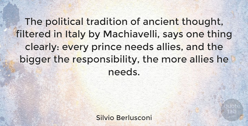 Silvio Berlusconi Quote About Responsibility, Political, Allies: The Political Tradition Of Ancient...