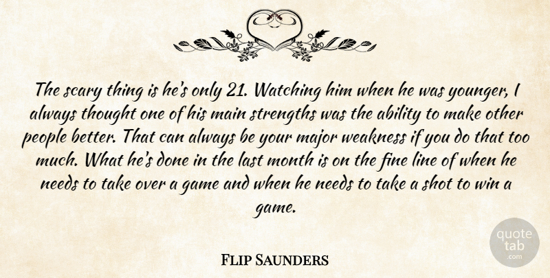 Flip Saunders Quote About Ability, Fine, Game, Last, Line: The Scary Thing Is Hes...