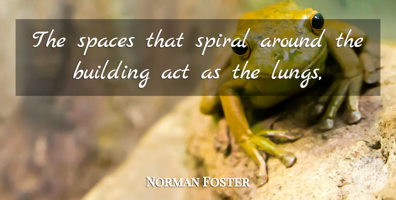 Norman Foster Quote About Act, Building, Spaces, Spiral: The Spaces That Spiral Around...