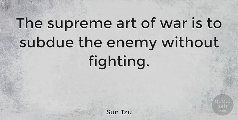 Sun Tzu Quote About Art, War, Fighting: The Supreme Art Of War...