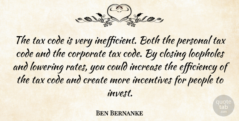 Ben Bernanke Quote About Both, Closing, Code, Corporate, Incentives: The Tax Code Is Very...