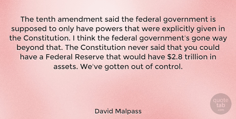 David Malpass Quote About Thinking, Government, Gone: The Tenth Amendment Said The...