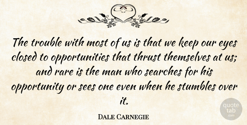 Dale Carnegie Quote About Eye, Opportunity, Men: The Trouble With Most Of...