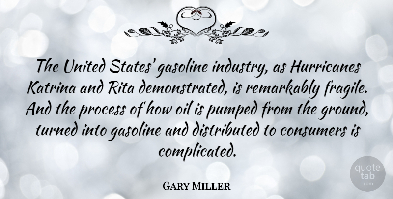 Gary Miller Quote About Consumers, Gasoline, Katrina, Pumped, Remarkably: The United States Gasoline Industry...