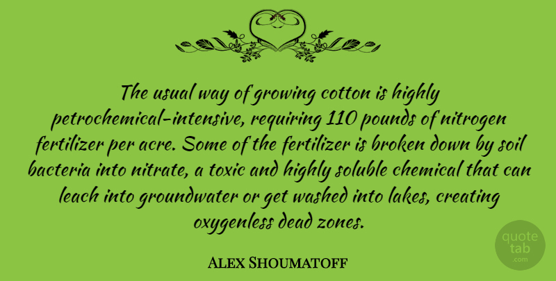 Alex Shoumatoff Quote About Bacteria, Chemical, Cotton, Growing, Highly: The Usual Way Of Growing...