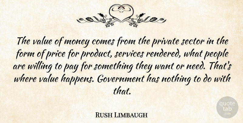Rush Limbaugh Quote About Government, People, Needs: The Value Of Money Comes...