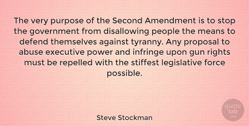 Steve Stockman Quote About Abuse, Against, Amendment, Defend, Executive: The Very Purpose Of The...