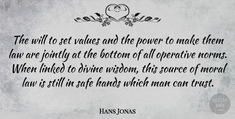 Hans Jonas Quote About Bottom, Divine, Hands, Law, Linked: The Will To Set Values...