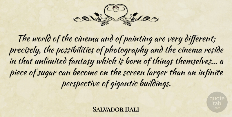 Salvador Dali Quote About Photography, Perspective, Different: The World Of The Cinema...