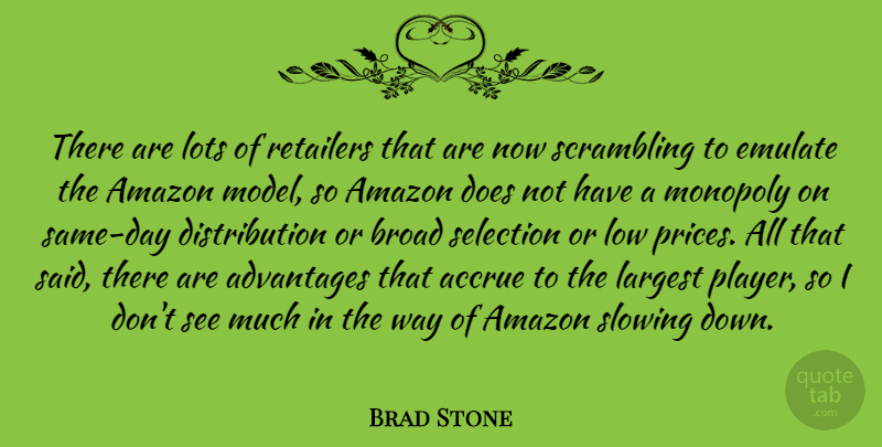 Brad Stone Quote About Advantages, Amazon, Broad, Emulate, Largest: There Are Lots Of Retailers...