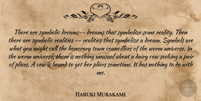 Haruki Murakami Quote About Dream, Reality, Pliers: There Are Symbolic Dreams Dreams...
