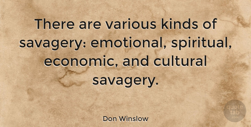 Don Winslow Quote About Spiritual, Emotional, Kind: There Are Various Kinds Of...