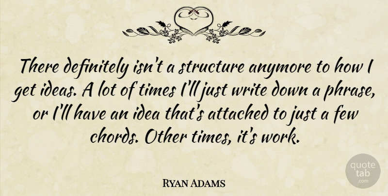 Ryan Adams Quote About Writing, Ideas, Phrases: There Definitely Isnt A Structure...