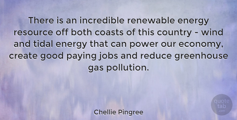 Chellie Pingree Quote About Both, Coasts, Country, Create, Energy: There Is An Incredible Renewable...