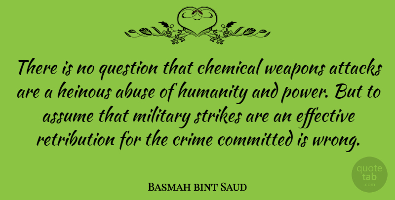 Basmah bint Saud Quote About Abuse, Assume, Attacks, Chemical, Committed: There Is No Question That...