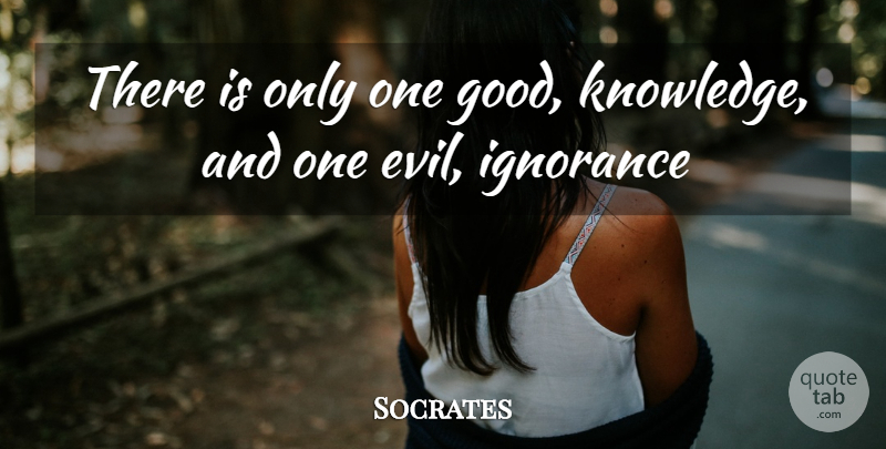 Socrates Quote About Evil, Ignorance: There Is Only One Good...
