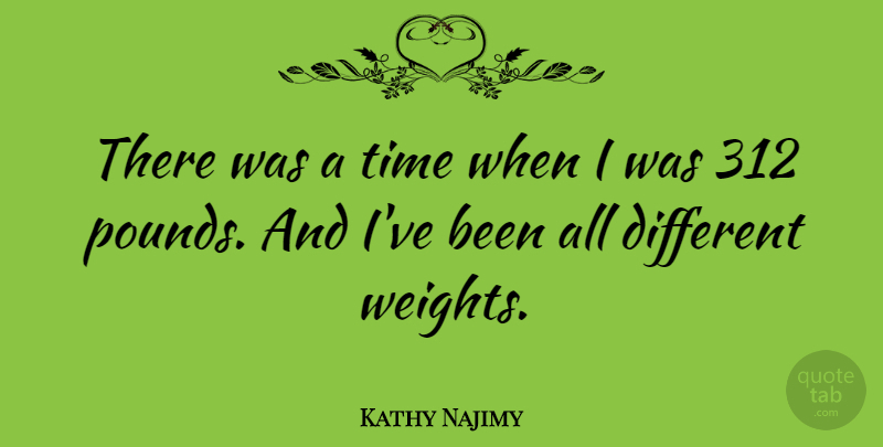 Kathy Najimy Quote About Pounds, Different, Weight: There Was A Time When...