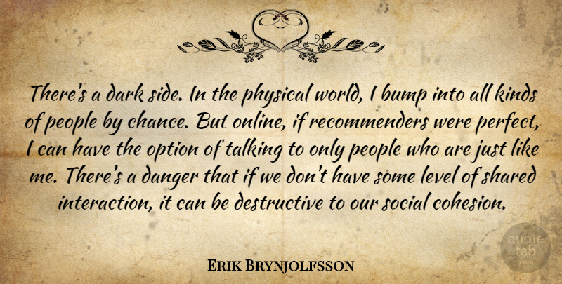 Erik Brynjolfsson Quote About Bump, Danger, Dark, Kinds, Level: Theres A Dark Side In...