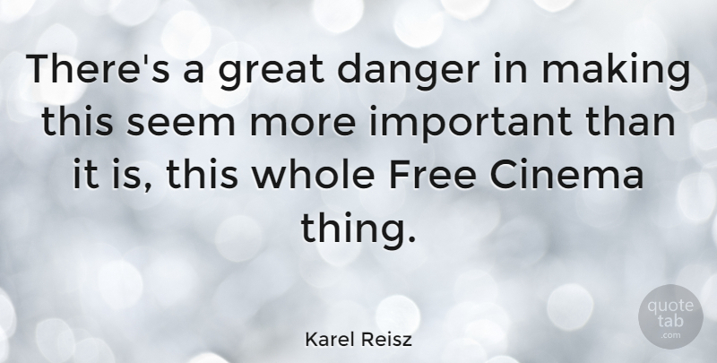 Karel Reisz Quote About Danger, Great, Seem: Theres A Great Danger In...