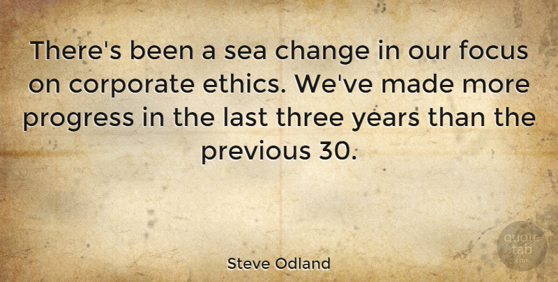 Steve Odland Quote About Years, Sea, Focus: Theres Been A Sea Change...
