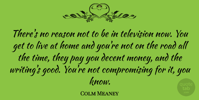Colm Meaney Quote About Decent, Home, Money, Pay, Reason: Theres No Reason Not To...