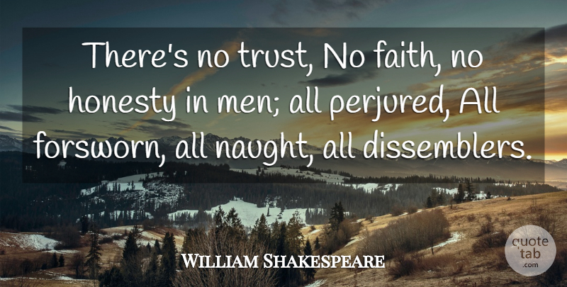 William Shakespeare Quote About Trust, Honesty, Men: Theres No Trust No Faith...