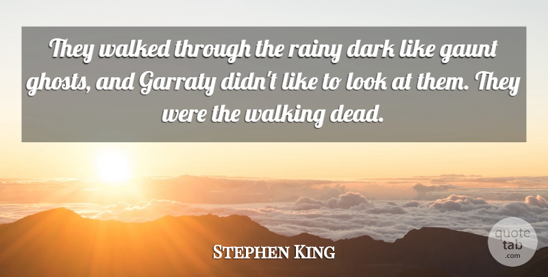 Stephen King Quote About Dark, Walking Dead, Looks: They Walked Through The Rainy...