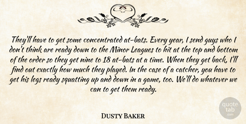 Dusty Baker Quote About Bottom, Case, Exactly, Guys, Hit: Theyll Have To Get Some...