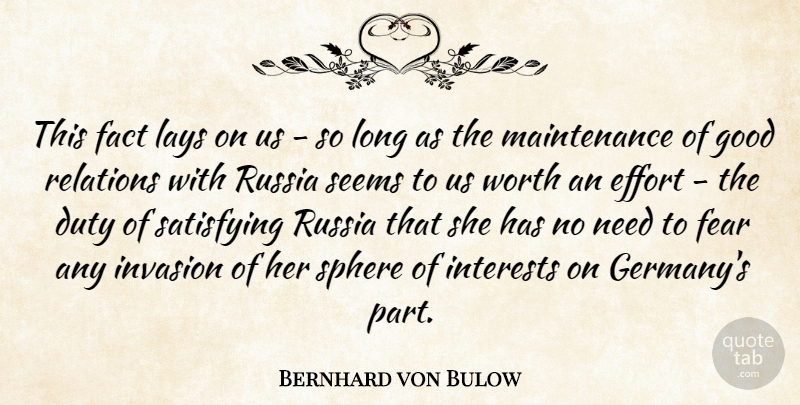 Bernhard von Bulow Quote About Duty, Fact, Fear, Good, Interests: This Fact Lays On Us...