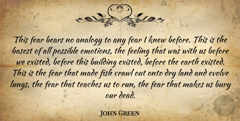 John Green Quote About Running, Land, Feelings: This Fear Bears No Analogy...