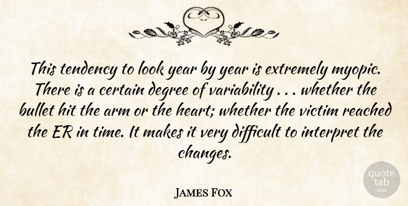 James Fox Quote About Arm, Bullet, Certain, Degree, Difficult: This Tendency To Look Year...