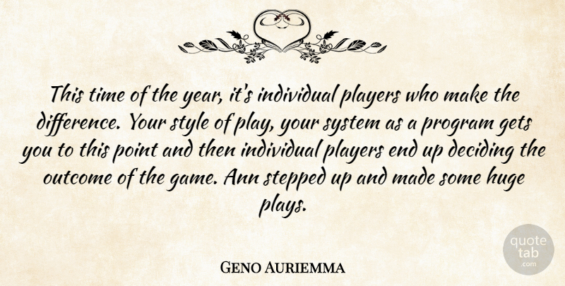 Geno Auriemma Quote About Deciding, Gets, Huge, Individual, Outcome: This Time Of The Year...