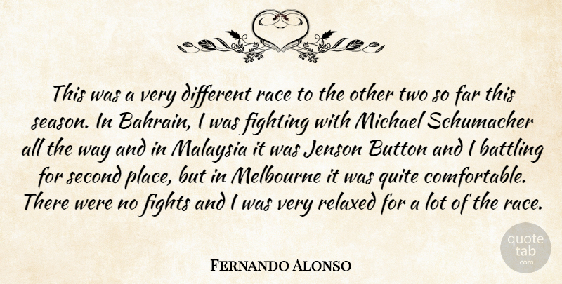 Fernando Alonso Quote About Battling, Button, Far, Fighting, Fights: This Was A Very Different...