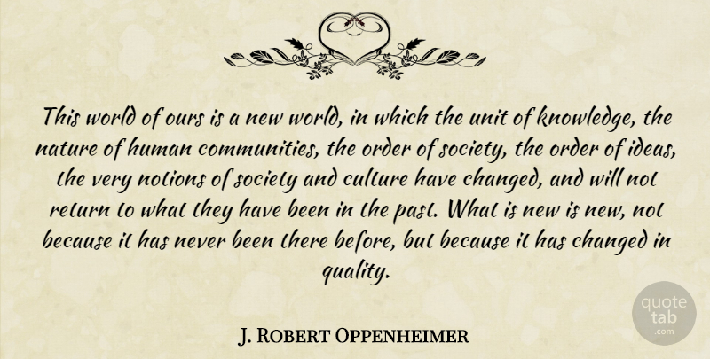 J. Robert Oppenheimer Quote About Past, Order, Ideas: This World Of Ours Is...