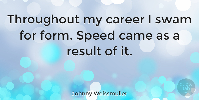 Johnny Weissmuller Quote About Careers, Speed, Form: Throughout My Career I Swam...