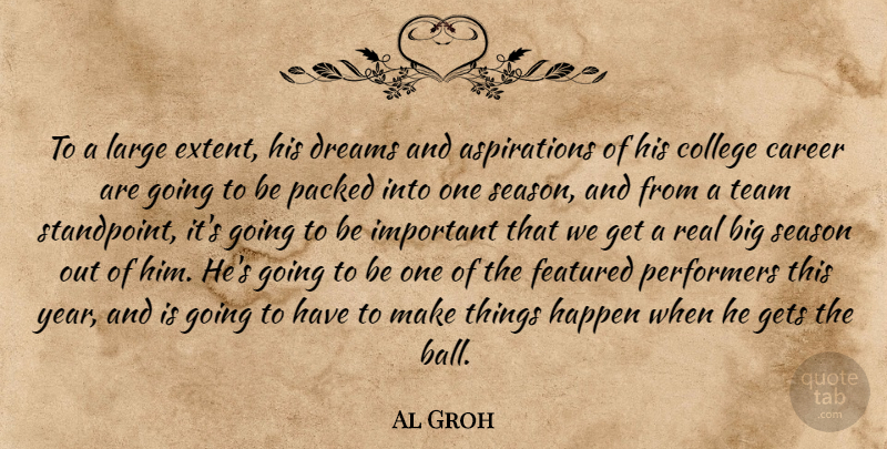 Al Groh Quote About Career, College, Dreams, Featured, Gets: To A Large Extent His...